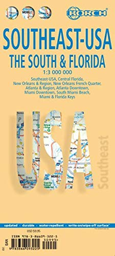 Southeast Florida Maps - Southeast: The South & Florida Road Map (USA 6) (English Edition)