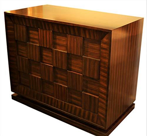 Heirloom Adjustable Shelf Cabinet - Global Views MidCentury Modern Wood Cube Wide Accent Cabinet   Chest Zebra Wood Stripe Square