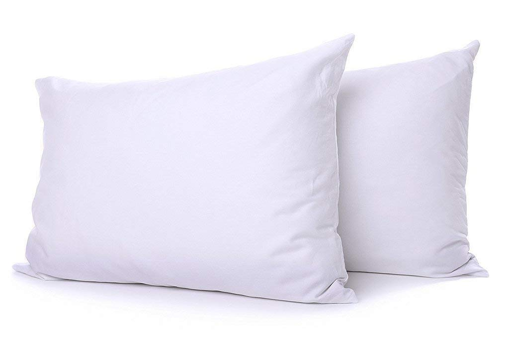 Lavish Linens ! Back to School Collection ! Queen Size Pillow for Dorm Bed Solid White - 1800 Series Brushed Microfiber - for Boys & Girls