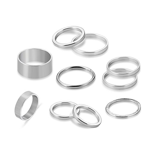 JAGENIE 10pcs/set Fashion Knuckle Ring Punk Silver Plated Stack Above Band Midi Rings