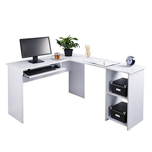 Fineboard L-Shaped Office Corner Desk 2 Side Shelves, White ()