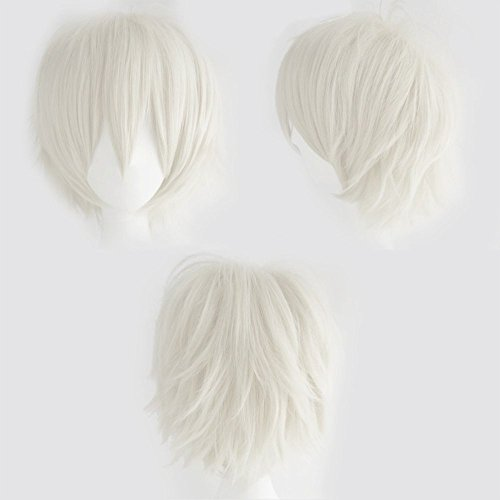 Synthetic Short Straight Fluffy Full Wig Oblique Fringe for Anime Cosplay Costume Party for Men / Women -- 20 Light/Deep Colors (blonde)