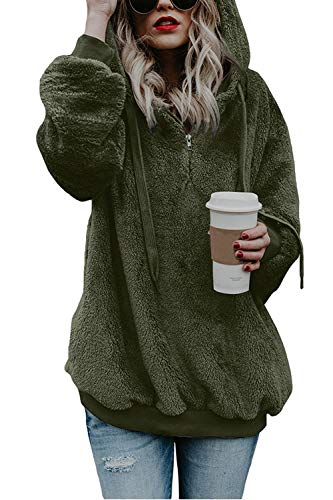COCOLEGGINGS Ladys Sherpa Hoodie Fuzzy Fleece Pullover Coat Army Green S