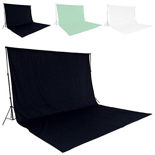 TecTake Teleskop Fotostudio Komplettset Hintergrundsystem inkl. Hintergrund 6x3 m + Tasche - diverse Farben - (Schwarz | Nr. 400779)