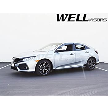 WellVisors Replacement 2017-Present Honda Civic Hatchback Side Rain Guard Window Visors Deflectors Black Trim