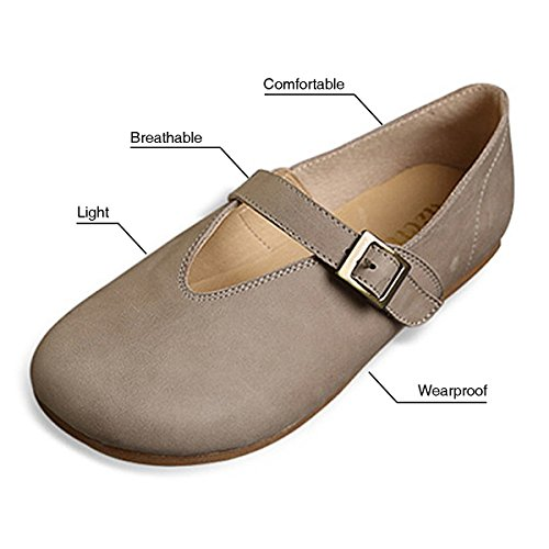 Socofy Womens Mocassins Appartements, Slip-on Mocassins En Cuir Casual Toe Chaussures, Mocassins Mode Confort Marche Chaussures Chaussures Gris 2