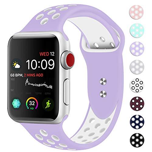 DVEEZIIG M/L V-W Double Color Band Belt Clip for Apple Watch Series 1/2/3/4, 38/40 mm/Medium/Large, Violet/White (Pack of 100)