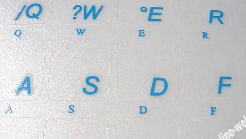 Portuguese-Brazil Transparent with Blue Lettering Stickers for PC Keyboards LAPTOPS Desktop