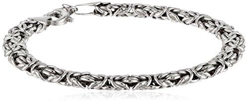 """Sterling Silver Byzantine Chain Bracelet, 7.5"""""""