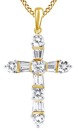 1.85 Ct Round & Baguette Cut Natural Diamond Cross Pendant Necklace In 14K Solid Yellow Gold Baguette Diamond Cross