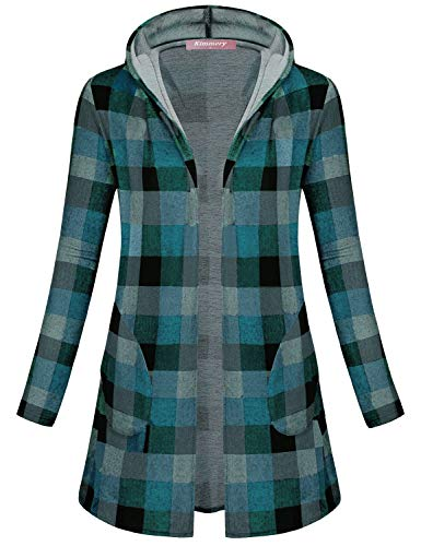 Kimmery Boutique Clothing for Women, Fall Tunic Cardigans Muticolor Open Front Chic Pockets Long Sleeve Sweaters Vintage Boho Gingham Pattern Cozy Warm Casual Office Work Outwear Green Large