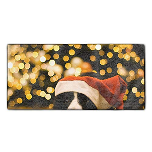 WilBstrn Christmas Border Collie Dog Towels for Travel - Quick Dry Towel for Swimmers, Sand Free Towel Towels for Kids & Adults