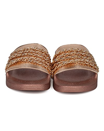 Casual Rose Versatile Women Chain Sandal Molded Toe Gold Metallic Alrisco Fashion Open Footbed Sandal by Trendy HD19 Designer Embellished Qupid Inspired Slide Collection zv8wRx