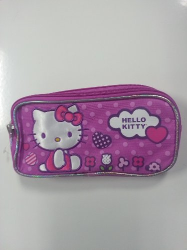 1 X Pencil Case - Hello Kitty - Flowers (Double Zippered Pouch)