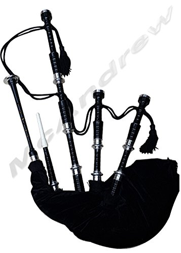 Scottish Full Set Bagpipes Silver Plain Mounts Rose for sale  Delivered anywhere in Canada