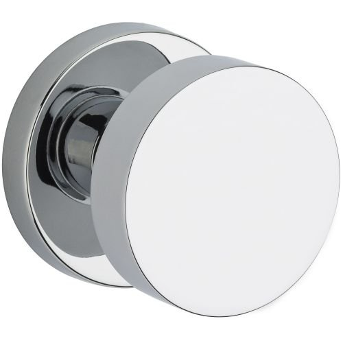 Baldwin PV.CON.CRR Modern Privacy Door Knob Set with Contemporary Round Rose fro, Polished Chrome - Chrome Privacy Door Knob