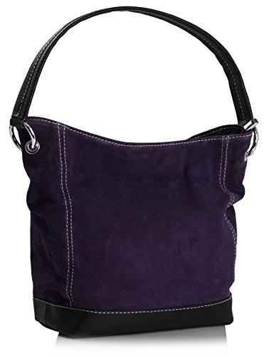 Big Handbag Shop Single Handle Real Italian Suede Leather Bag with Faux Trim (Deep Purple)