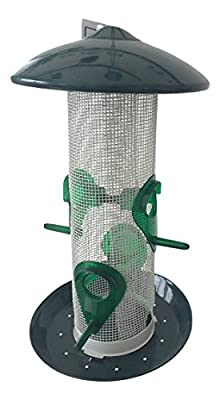Metal Hanging Bird Seed Feeder For Small and Wild Birds-Brilliant Durable Powder Coated Squirrel Proof Mesh-Twist Lock Cap And Base To Clean & Refill from Madona Pty Ltd