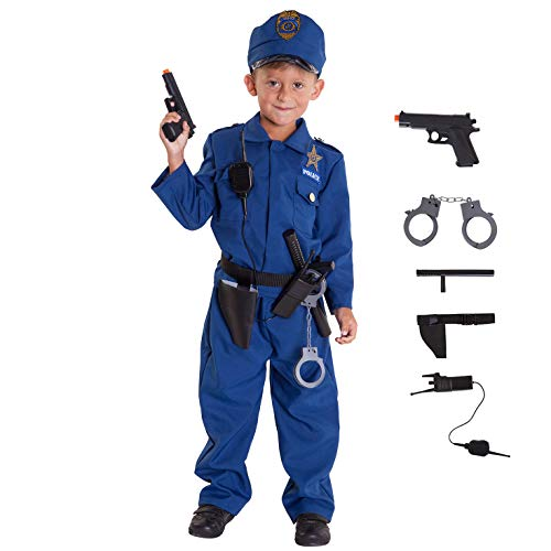 Kids Cop Costume Childs Policeman Uniform Police Officer Fancy Dress Up for Boys and Girls - Small (Age 3-6) -