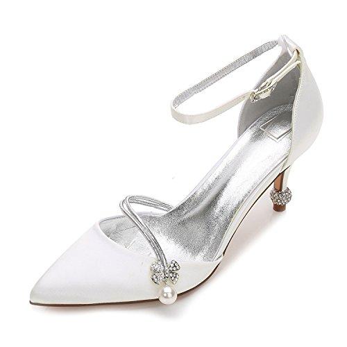 Hochzeit Schuhe Damen High Heels Satin Spitze Karneval Künstliche perlen Pumps Mary Jane Halbschuhe Brauen by MarHermoso Elfenbein
