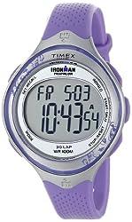 Timex Women's T5K603 Ironman Clear View 30-Lap Amethyst/Silver-Tone Resin Strap Watch