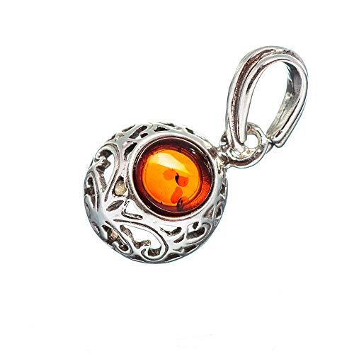 Sterling Cabochon Pendant Handmade Silver (Genuine Baltic Amber Pendant 7/8