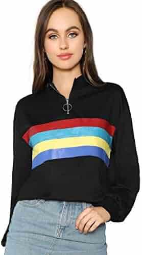 62360a8054d9 SheIn Women's Casual Long Sleeve High Neck Top Zipper Front Pullover  Sweatshirts Small Black
