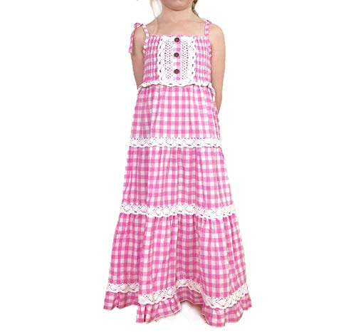 Jennifer + June Gingham Checkered Print Lace Tiered Smocked Maxi Toddler and Girl Dresses. (4T - 5T, Pink)
