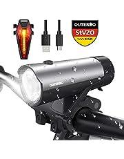 LED Fahrradlichter Set, OUTERDO StVZO Zugelassen USB Wiederaufladbare LED Fahrradlicht Set, LED Fahrradbeleuchtung Set inkl.Frontlicht und Rücklicht, Wasserdichte Fahrradlampe Set