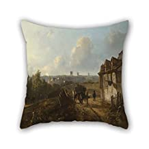 18 X 18 Inches / 45 By 45 Cm Oil Painting Johan Barthold Jongkind - View On Monmartre Pillowcover 2 Sides Is Fit For Couch Play Room Son Family Drawing Room Floor