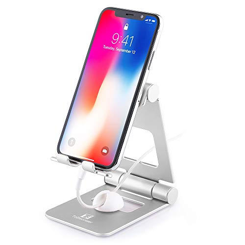 Adjustable Desk Cell Phone Stand, ToBeoneer T8 Phone Holder [Upgraded Solid] Dual Multi Angle Desktop Phone Charging Cradle Dock for Mobile Phone Tablet Home Kitchen Office Décor Accessories (Silver) ()