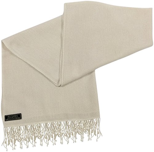 Champagne High Grade 100% Cashmere Shawl Scarf Hand Made in Nepal CJ Apparel