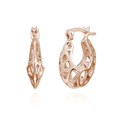 Cut Out Round Earrings (Rose Gold Flashed Sterling Silver High Polished Lightweight Round Filigree Cutout Hoop Earrings)