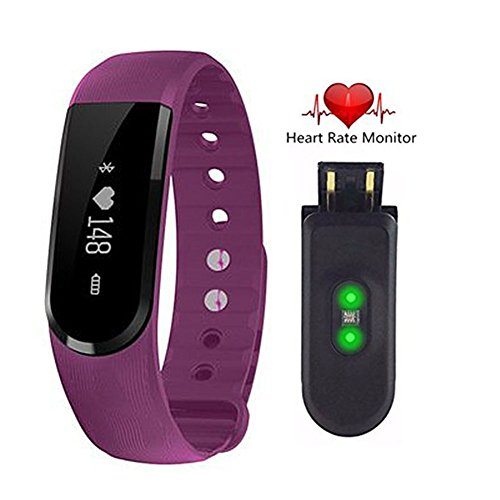 Fitness tracker ID101hr, Full touch-screen High Accuracy Signal Heart Rate Monitor Music control Waterproof Bluetooth 4.0 Smart Bracelet For IOS and Android (Purple)
