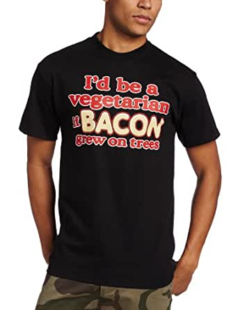T-Line Men's Humor Bacon T-Shirt, Black, Medium