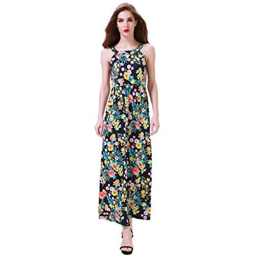 Aphratti Women's Sleeveless Bohemian Halter Long Beach Maxi Summer Dresses hot sale