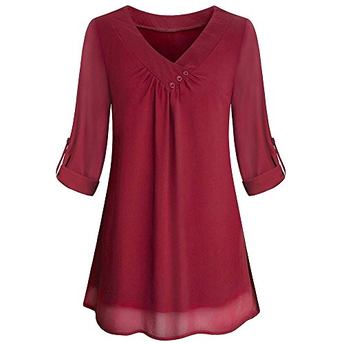 Womens Roll-Up Long Sleeve Top Casual V Neck Button Layered Chiffon Blouses ()