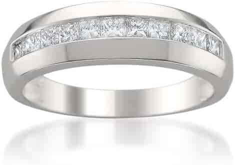 14k White Gold Princess-cut Diamond Men's Wedding Band Ring (1 cttw, H-I, I1)
