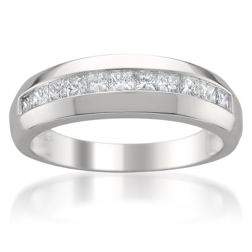 14k White Gold Princess-cut Diamond Men's Wedding Band Ring (1 cttw, H-I, I1), Size 10 ()