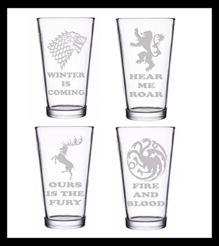 Game of Thrones Gift Set of 4 Pints Premium Etched Glasses: Stark, Baratheon, Lannister, Targaryen House Sigils and House Words By Brindle Designs