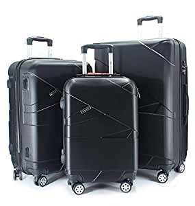 luggage travel trolley with 4 wheels 3 pieces set,black 9925