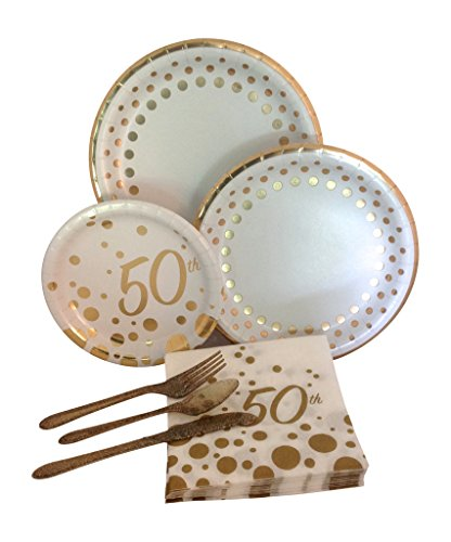 50th Gold Anniversary Birthday Party Supply Pack! Bundle Includes Paper Plates, Napkins, & Silverware for 8 - Supplies 50th Party Anniversary