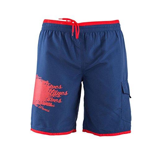 Just Cavalli Men Navy & Red Long Board Swim Shorts Side Pockets Trunks Swimsuit S US EU 48
