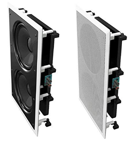 OSD Audio IWS88 In Wall 350W Home Theater Subwoofer Dual 8-Inch Injected Woofers w/ Back Bridge to Enhance Bass