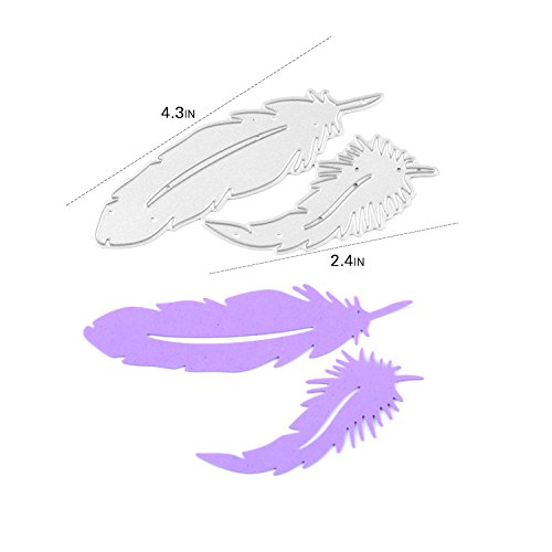 2 Pcs Metal Feather Stencils DIY Scrapbooking Paper Card - 7