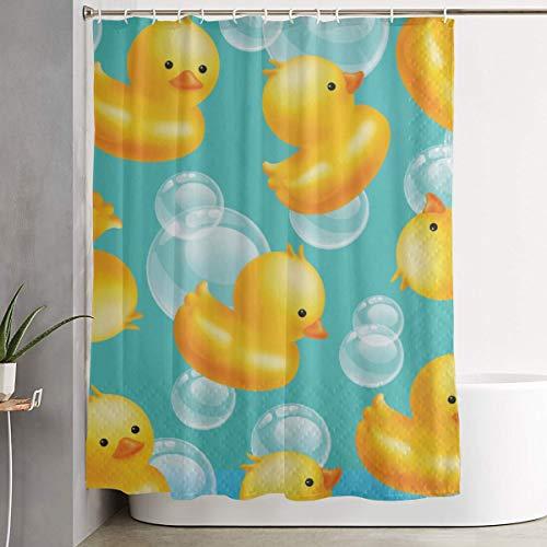 ManSanTuBaZhu Cute Rubber Duck Custom Waterproof Bath Shower Curtain,Polyester Fabric Bathroom Curtain Decor Set with Hooks 60