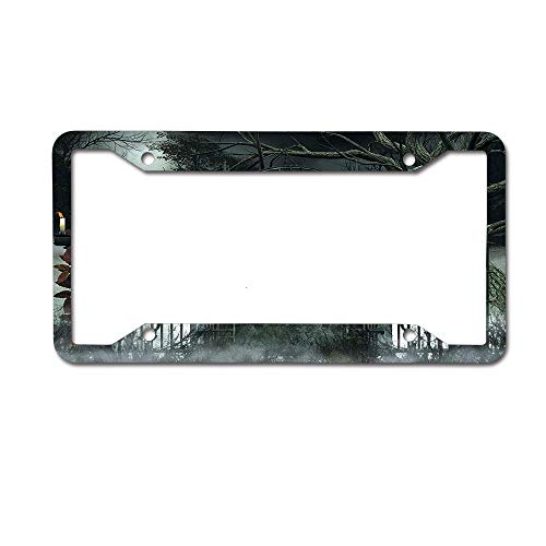 SDGlicenseplateframeIUY Moon Halloween Ancient Historical Gate Gothic Background Candles Fiction View License Plate Novelty Auto Car Tag Aluminum License Plate Frame .(12x6) 4 -