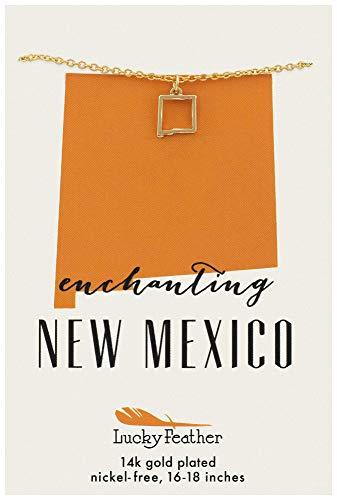 Lucky Feather New Mexico Shaped State Necklace, 14K Gold-Dipped Pendant on Adjustable 16