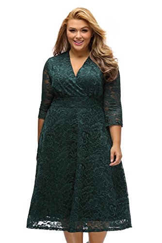 Unbranded* Fashion Women's Elegant Lace Sexy V-Neck Plus Size Tall Waist Loose Hem Womens Dress (XX-Large, (Cocktail Unit)