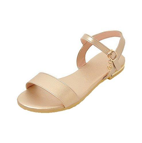Gold Hebilla de Mini Sandalias vestir AalarDom Abierta Puntera Sólido Pu Mujer Tacón FPRq1a6w